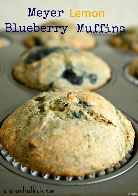 Meyer Lemon Blueberry Muffins - Herbivore Triathlete